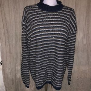coach blue brown ALPACA striped sweater L